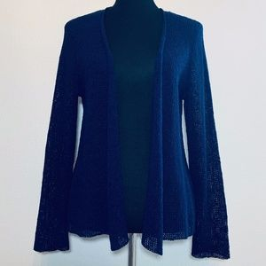 Eileen Fisher navy open front knit cardigan - M